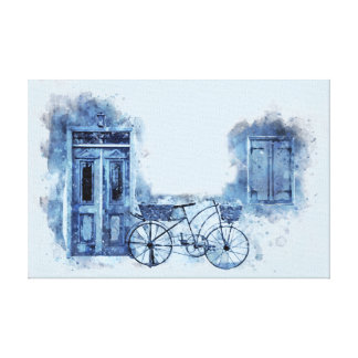 Impressão Em Tela Pintura de cena azul da rua da bicicleta