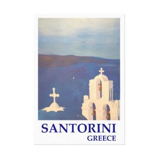 Impressão Em Tela Piscina de Santorini com estilo retro do chruch
