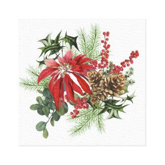 Impressão Em Tela poinsétia moderna do feriado do vintage floral