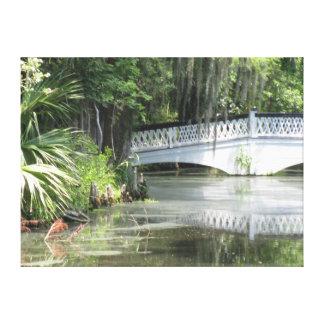 Impressão Em Tela Ponte colonial da lagoa do jardim da magnólia