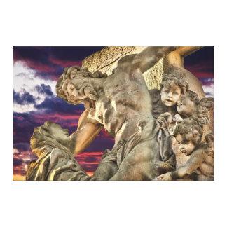 Impressão Em Tela Ponte Jesus de Praga Charles na cruz no por do sol