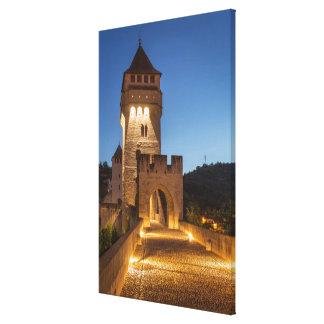 Impressão Em Tela Ponte velha na noite, France
