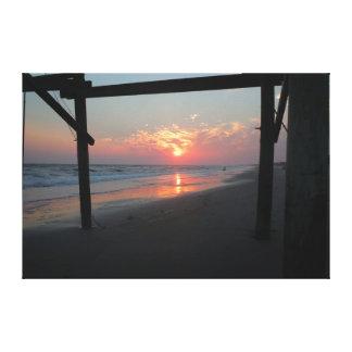 Impressão Em Tela Por do sol abaixo do cais - ilha do carvalho, NC