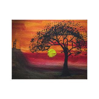 Impressão Em Tela Por do sol africano