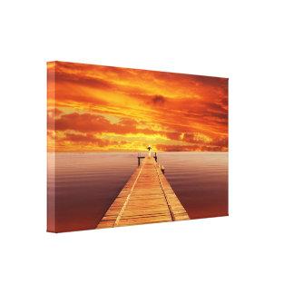 Impressão Em Tela Por do sol da solidão no lago