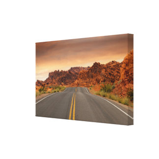 Impressão Em Tela Por do sol da viagem por estrada