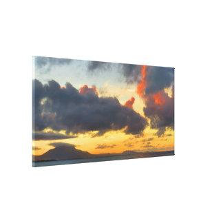 Impressão Em Tela Por do sol das caraíbas colorido