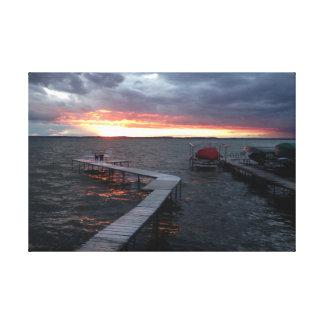 Impressão Em Tela Por do sol dentro no lago Mendota
