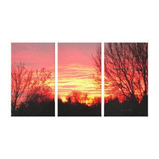 Impressão Em Tela Por do sol do país