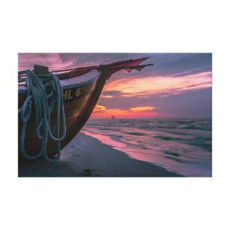 Impressão Em Tela Por do sol na baía