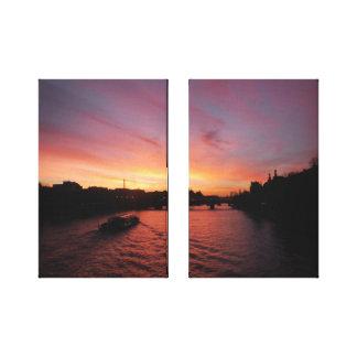 Impressão Em Tela Por do sol no rio Seine