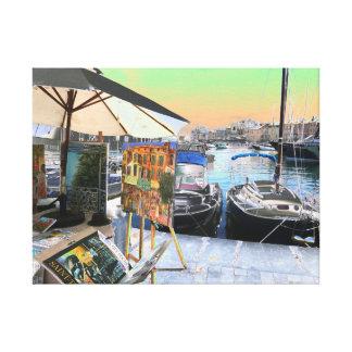 Impressão Em Tela Porto colorido do beira-rio dos trabalhos de arte