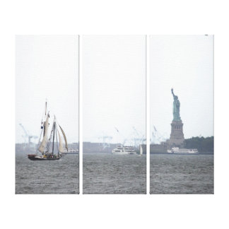 Impressão Em Tela Porto de NYC e senhora Liberdade no Triptych da