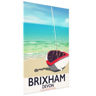 Impressão Em Tela Poster das viagens vintage de Devon da praia de