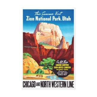 Impressão Em Tela Poster das viagens vintage dos EUA Utá restaurado