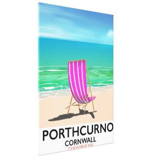 Impressão Em Tela Poster de viagens da praia de Porthcurno Cornualha