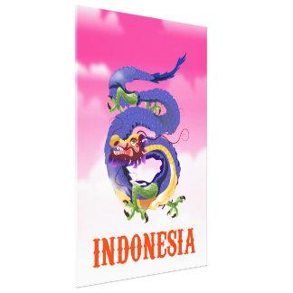 Impressão Em Tela Poster de viagens retro do dragão de Indonésia