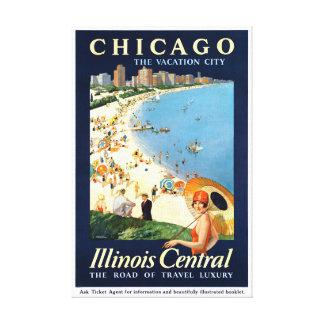Impressão Em Tela Poster vintage da cidade das férias de Chicago