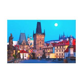 Impressão Em Tela Praga #001A - Ponte de Charles no alvorecer,