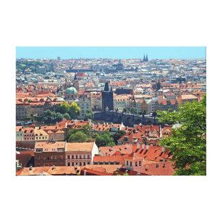 Impressão Em Tela Praga. Ponte de Charles e telhados telhados