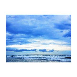 Impressão Em Tela Praia azul e nebulosa