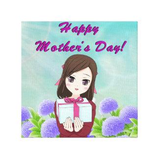 Impressão Em Tela Presente feliz do dia das mães (customizável)