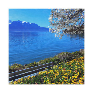 Impressão Em Tela Primavera em Genebra ou em lago Leman, Montreux,