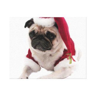 Impressão Em Tela Pug do Natal - cão de Papai Noel - persiga claus