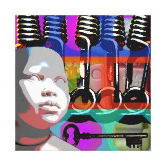Impressão Em Tela Quadro psicadélico S do pop da boneca do projeto