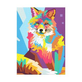 Impressão Em Tela Retrato colorido do Fox do pop art