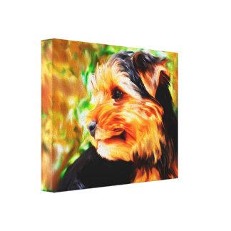 Impressão Em Tela Retrato da arte da aguarela do cão do yorkshire