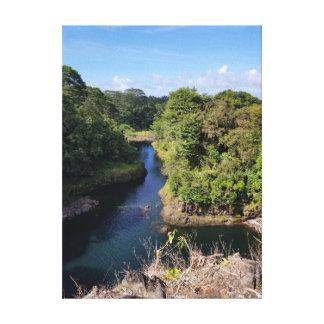 Impressão Em Tela Rio azul sonolento através do montanhês havaiano