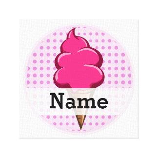 Impressão Em Tela Rosa bonito sorvete personalizado para meninas