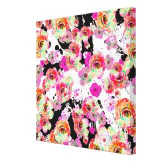 Impressão Em Tela Rosa e primavera do coral floral em preto e branco