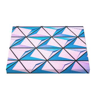 Impressão Em Tela Rosa e teste padrão geométrico azul