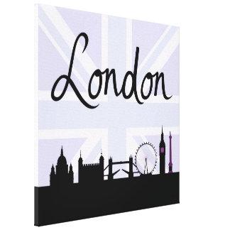 Impressão Em Tela Roteiro de Londres no céu de Union Jack & locais