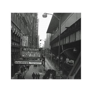 Impressão Em Tela Rua do sinal do restaurante de Blackhawk dos anos