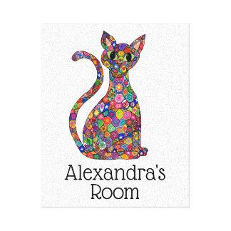 Impressão Em Tela Sala colorida bonito do nome do monograma do gato