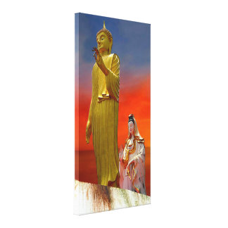 Impressão Em Tela Senhor Buddha e Quan Yin