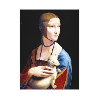 Impressão Em Tela Senhora de Leonardo da Vinci com um arminho