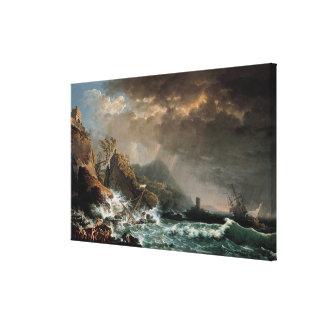 Impressão Em Tela Shipwreck em uma entrada rochosa