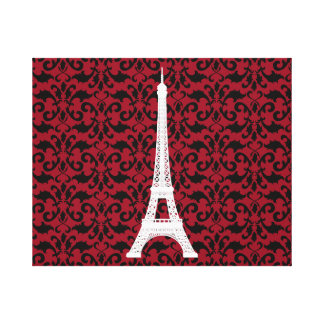 Impressão Em Tela Silhueta da torre Eiffel, damasco - vermelho preto