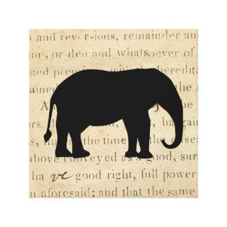 Impressão Em Tela silhueta rústica do elefante da ação das coisas