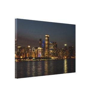 Impressão Em Tela Skyline Chicago Pano da noite