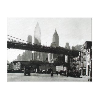 Impressão Em Tela Skyline da Nova Iorque do vintage e ponte de