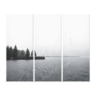 Impressão Em Tela Skyline do porto de Toronto no Triptych da chuva