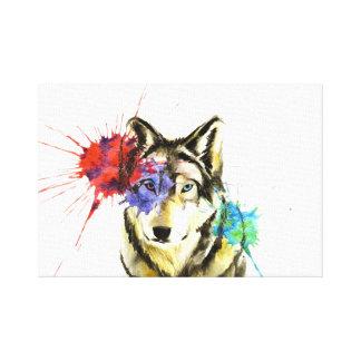 Impressão Em Tela Splatter do lobo