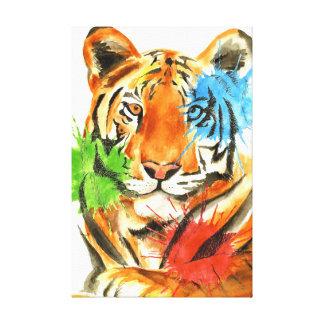 Impressão Em Tela Splatter do tigre