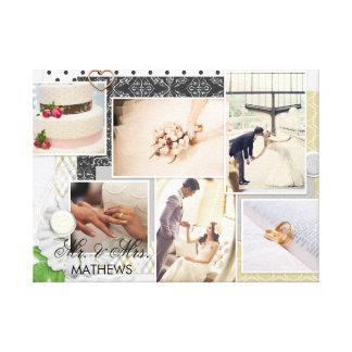 Impressão Em Tela Sr. chique & Sra. Monograma Casamento Foto Colagem