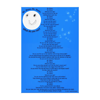 """Impressão Em Tela Sr. Lua, Poema do Sr. Lua Divertimento Criança 32"""""""